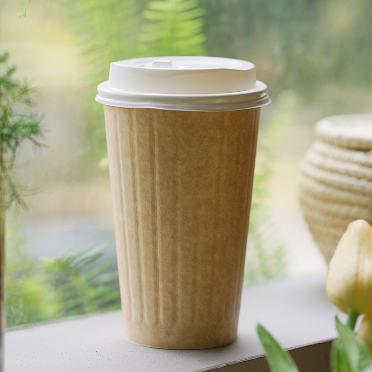 Disposable Biodegradable Decorative Ripple Paper Takeaway Coffee Cups From China Manufacturer Anbao